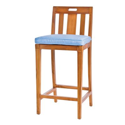 Wooden barstool with backing and padded seat