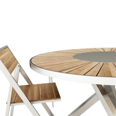 Outdoor wooden table with a wooden chair