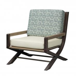 teak frame lounge chair with upholstered seat and cushions