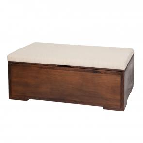 walnut wood bench with upholstered seat cushion and storage