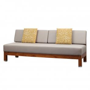 teak settee with woven rattan panels and upholstered seat