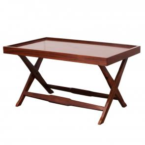 Hardwood frame cocktail table with tray