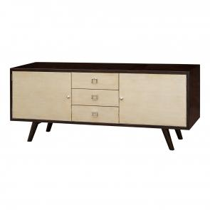 Wood midcentury media chest front
