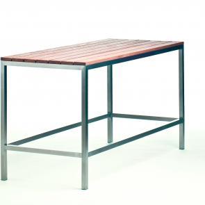 Bar table stainless steel frame teak top restaurant furniture