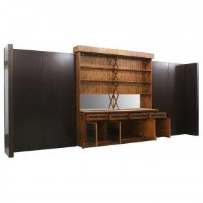natural oak back bar cabinet with faux crocodile front