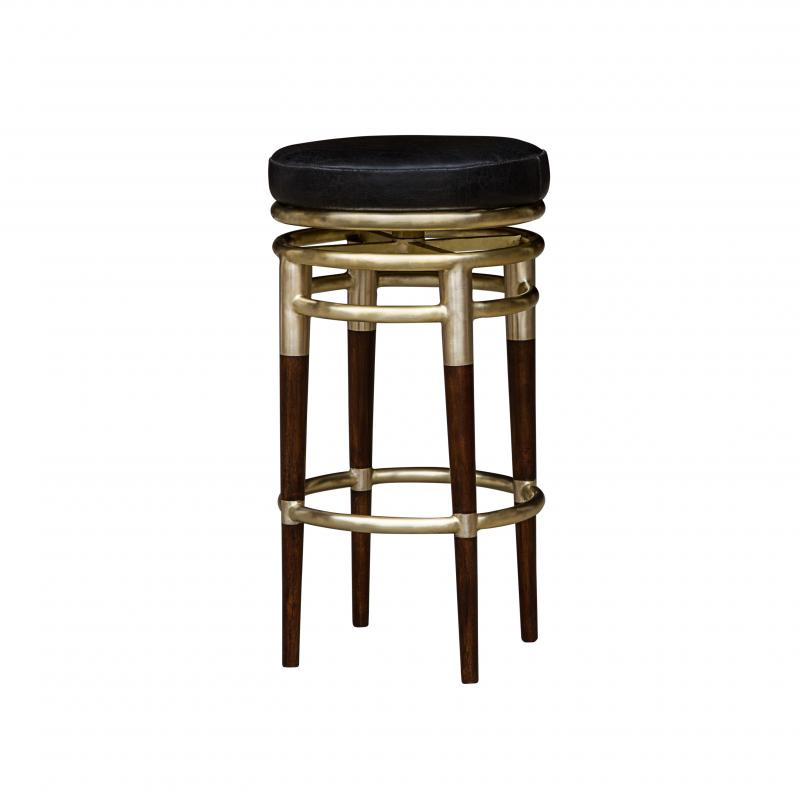 Deco barstool wood and metal frame hotel furniture