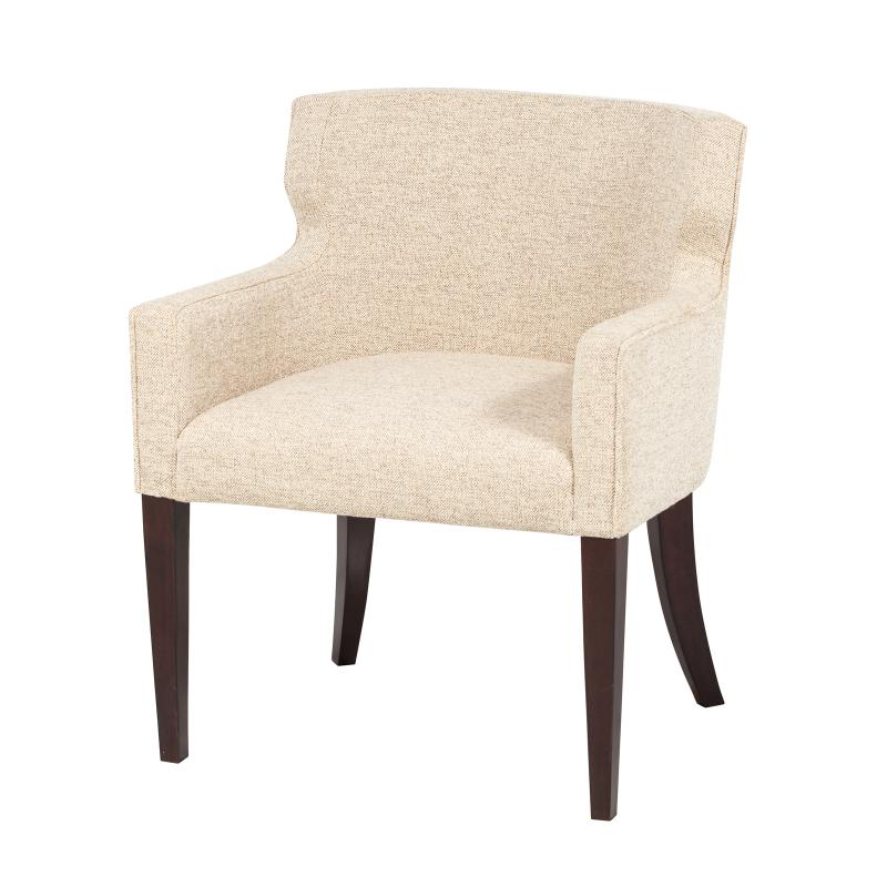 fully upholstered tub dining chair with exposed legs