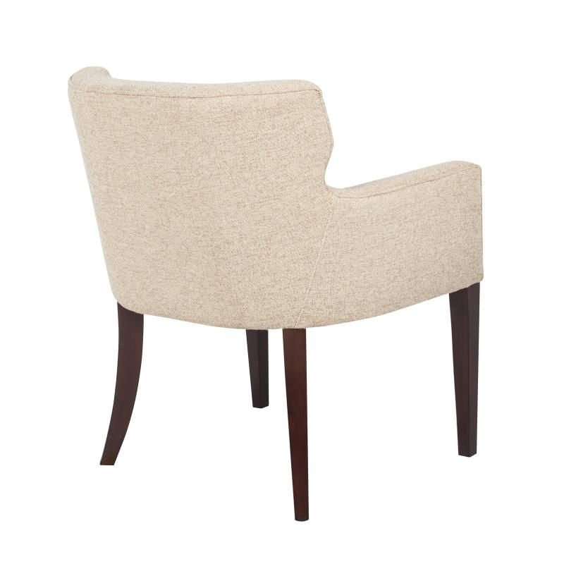fully upholstered tub dining chair with exposed wood legs back