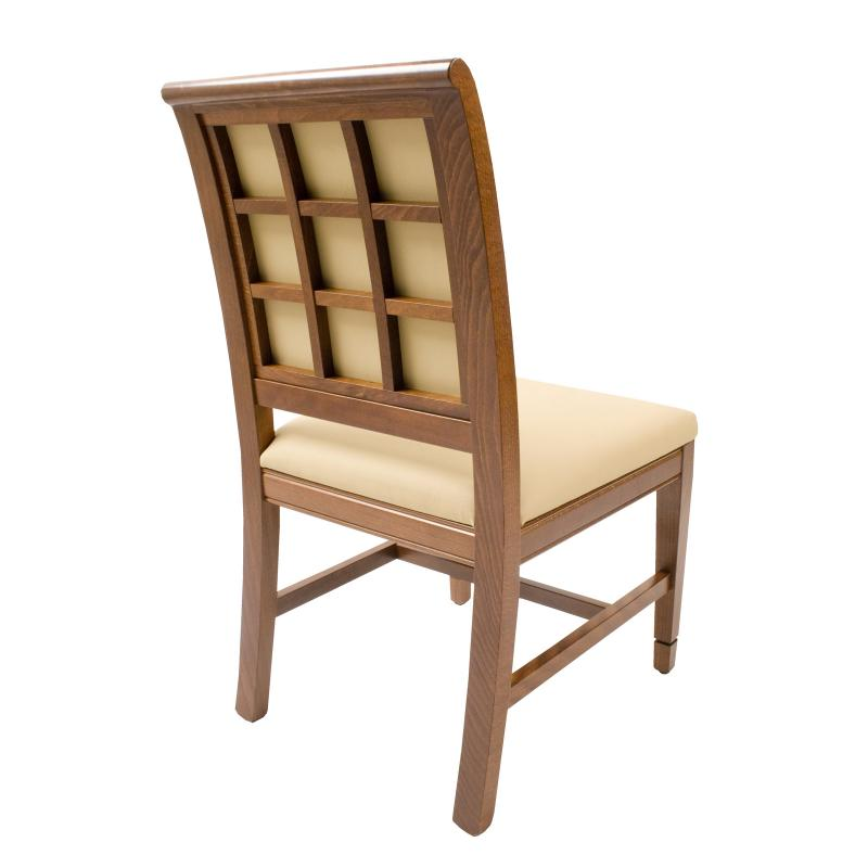 window pane back of wood frame contemporary side chair