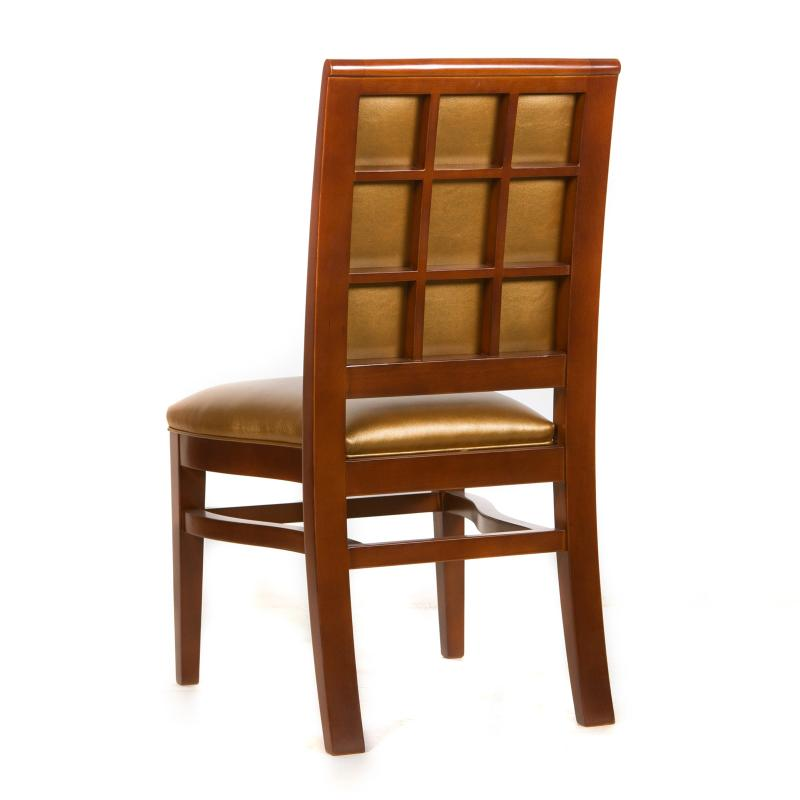 gold upholstered contemporary side chair with window pane back