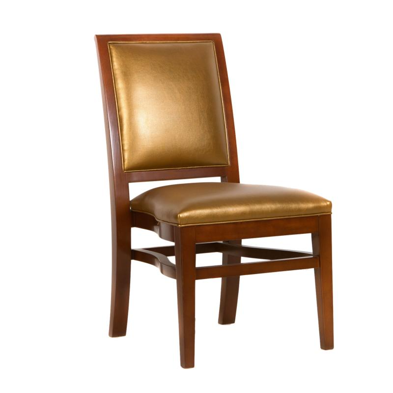 wood frame side chair with gold upholstered seat and back