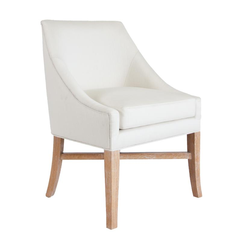 White upholstered wood frame dining chair with cerused oak legs