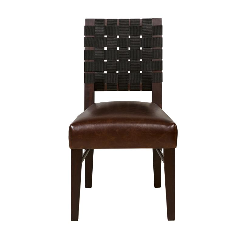 dark mahogany dining chair, woven back and upholstered seat