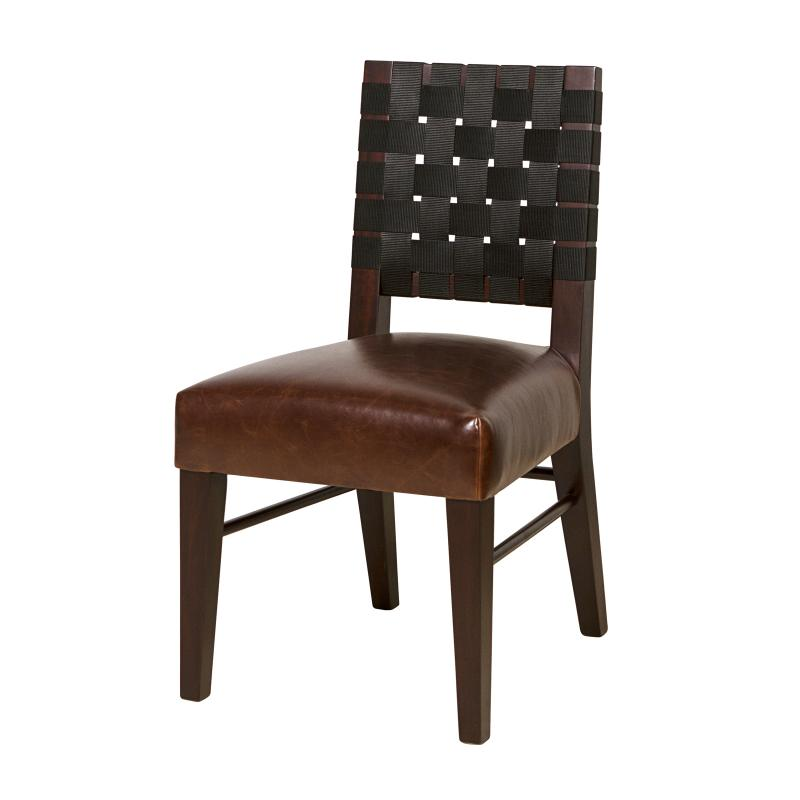 mahogany frame dining chair with upholstered seat and woven back