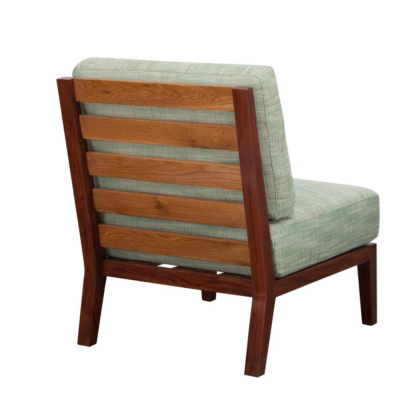 Lounge chair with stained teak frame back hotel furniture