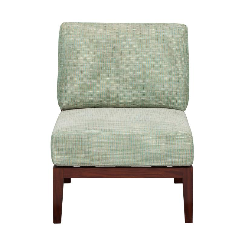 Lounge chair with stained teak frame hotel furniture