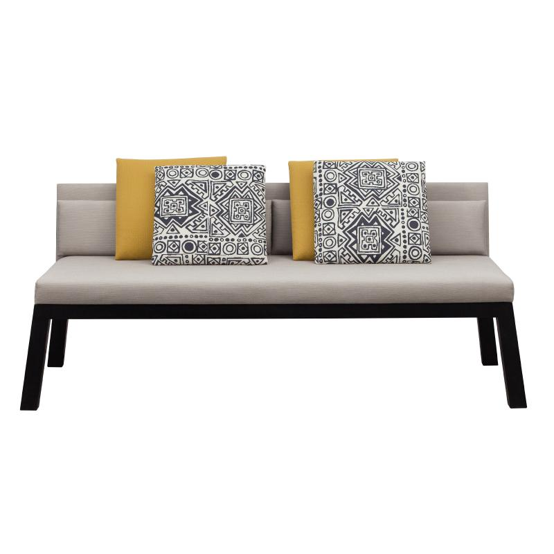 outdoor settee with wood frame with upholstered seat and cushions