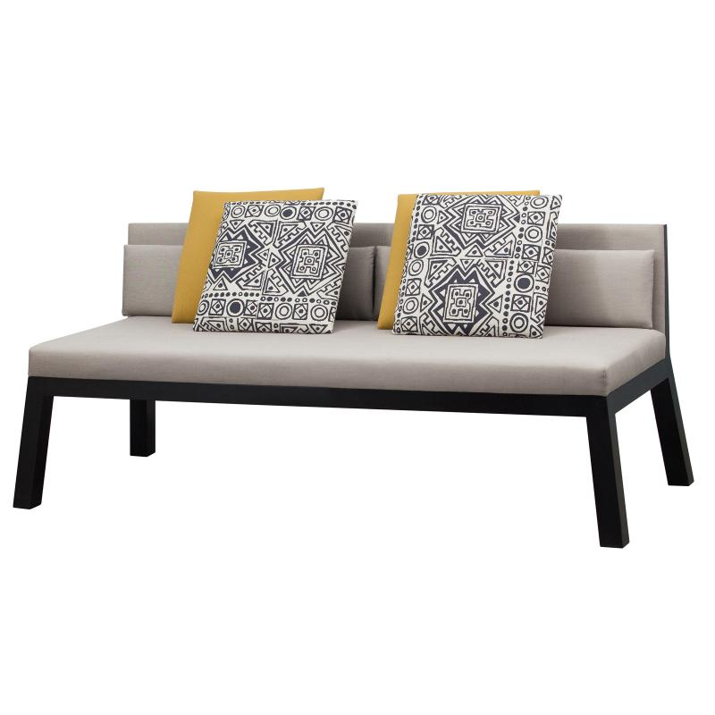outdoor settee with wood frame with upholstered cushions and seat side
