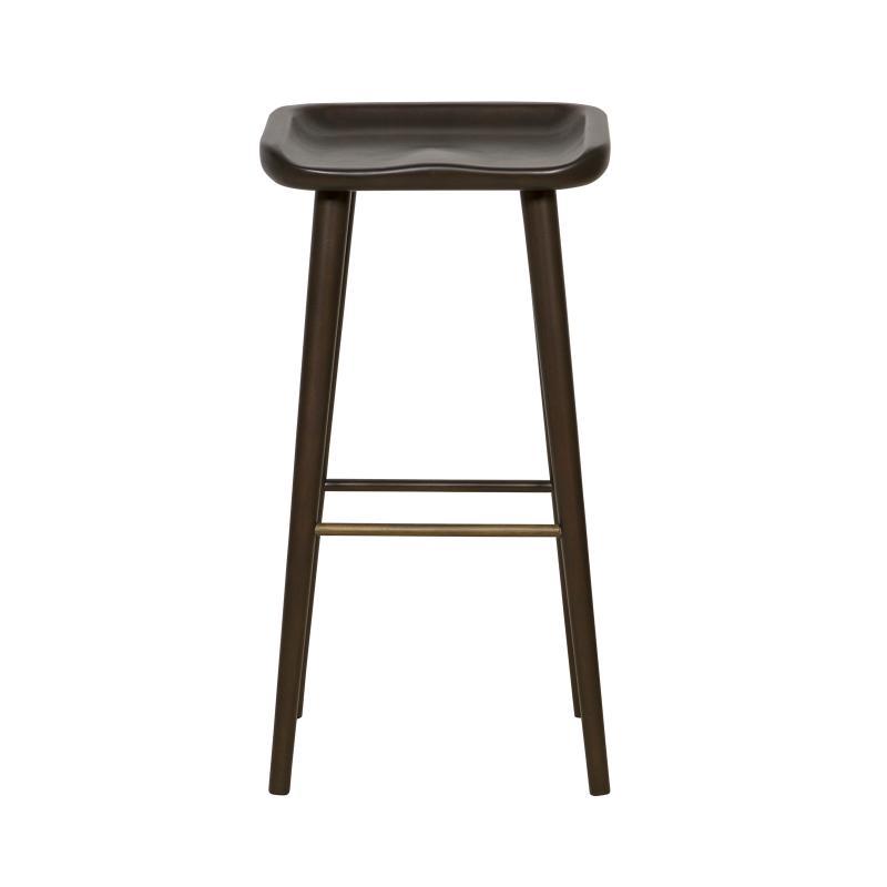 dark mahogany backless bar stool with scooped seat