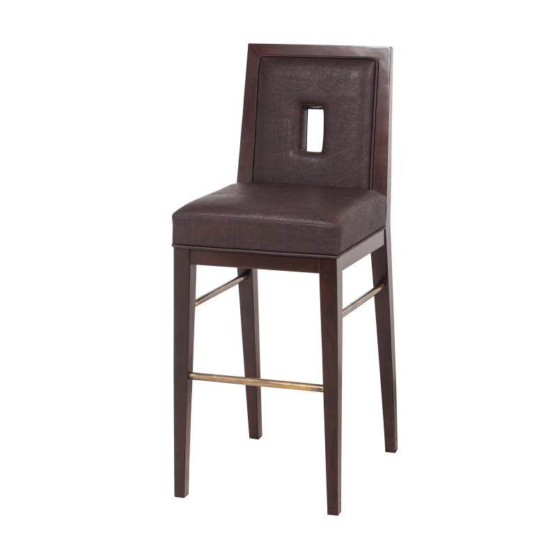 mahogany bar stool with exposed wood and brass