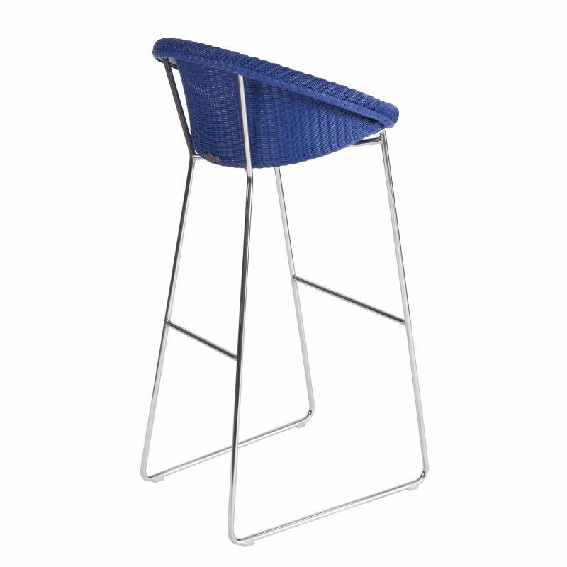 Ultramarine blue wicker barstool back hotel furniture