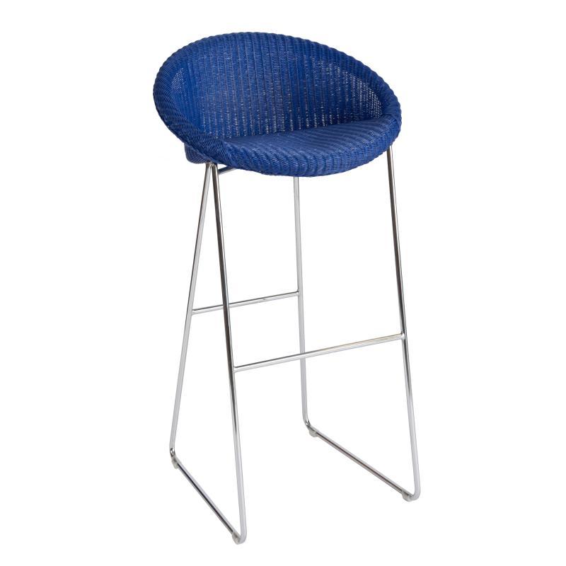 Ultramarine blue wicker barstool hotel furniture