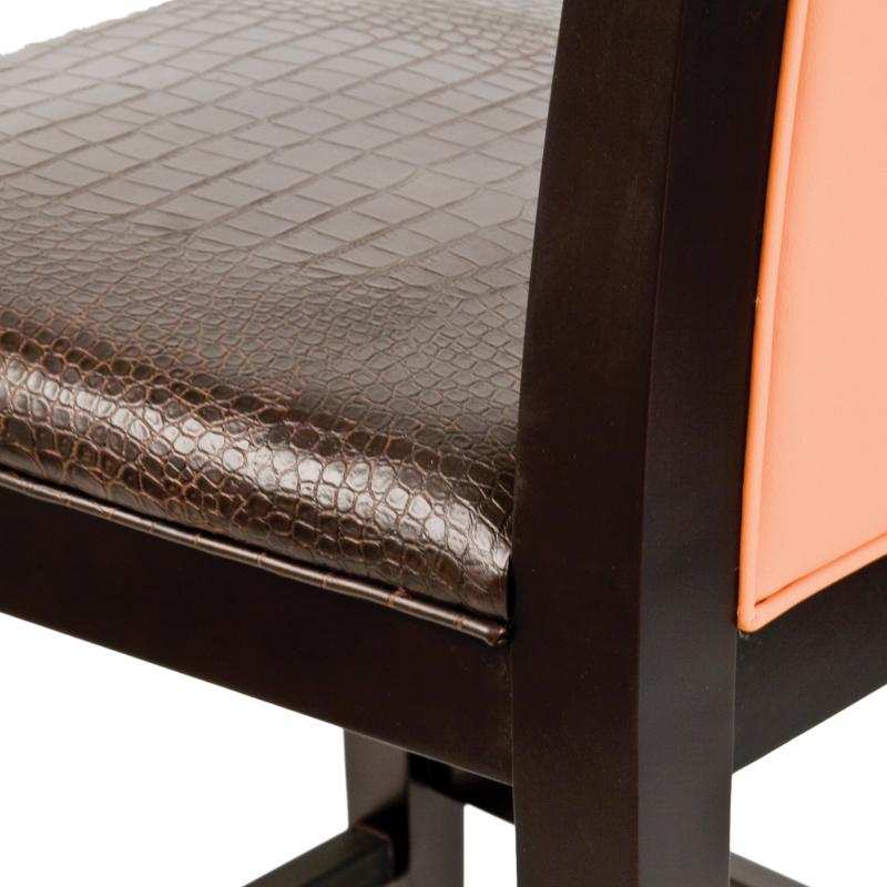 Dark wood frame barstool detail hotel furniture
