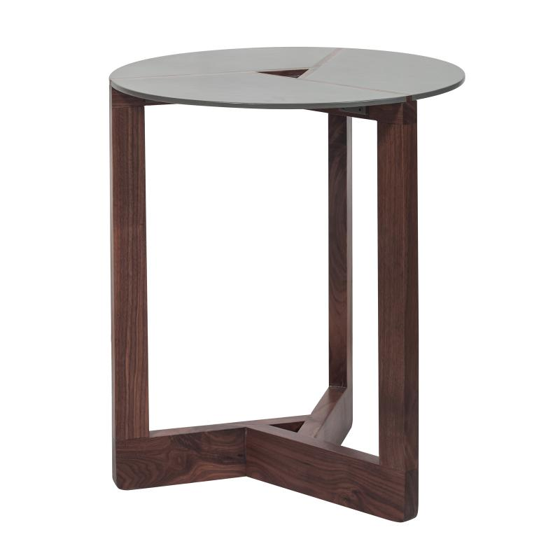 Walnut wood end table with powder coated steel top hotel furniture