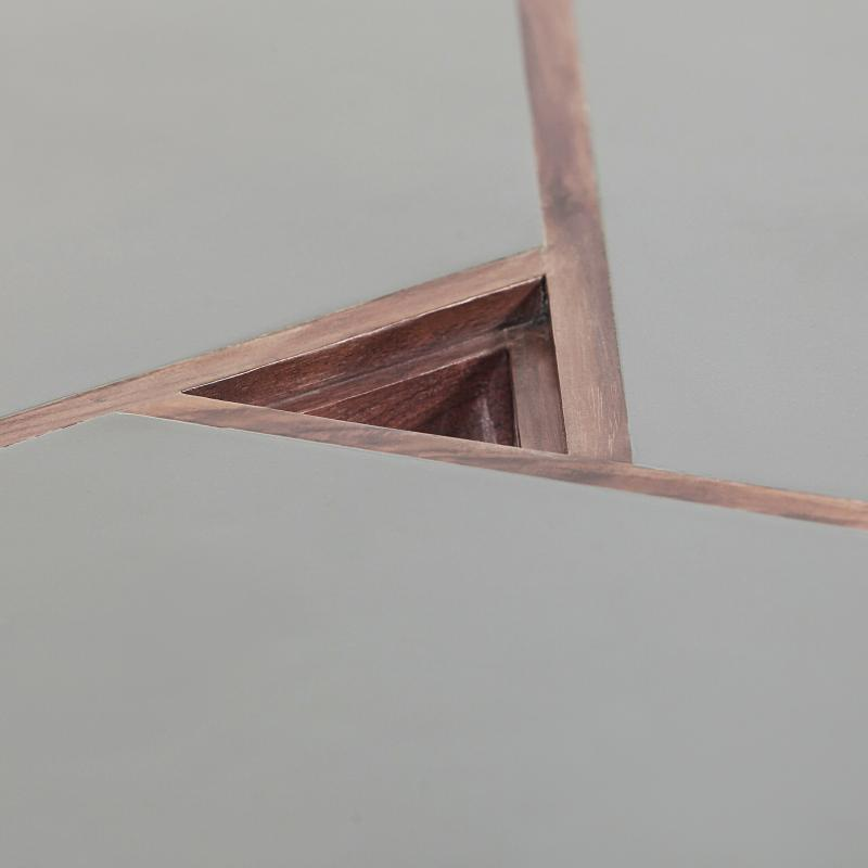 Walnut wood end table powder coated steel top detail hotel furniture