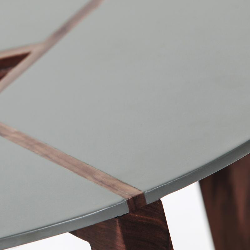 Steel top walnut wood end table hotel furniture