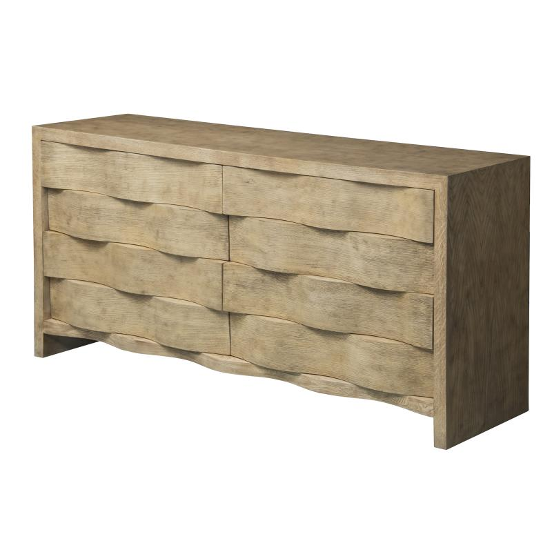 oak wood and veneer TV console with eight drawers