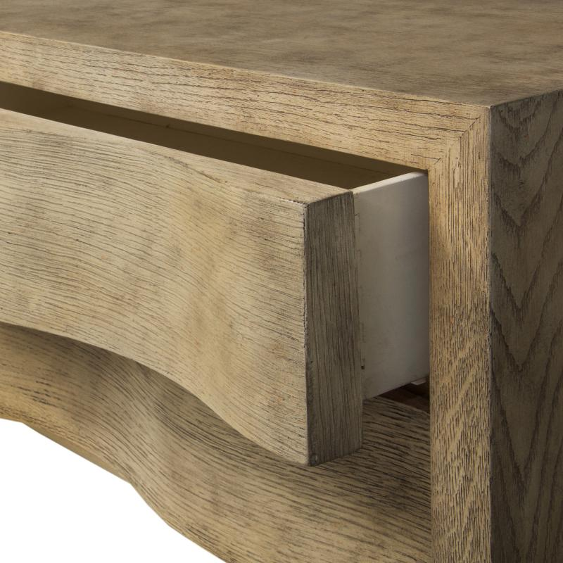 oak wood and veneer TV console with eight drawers detail