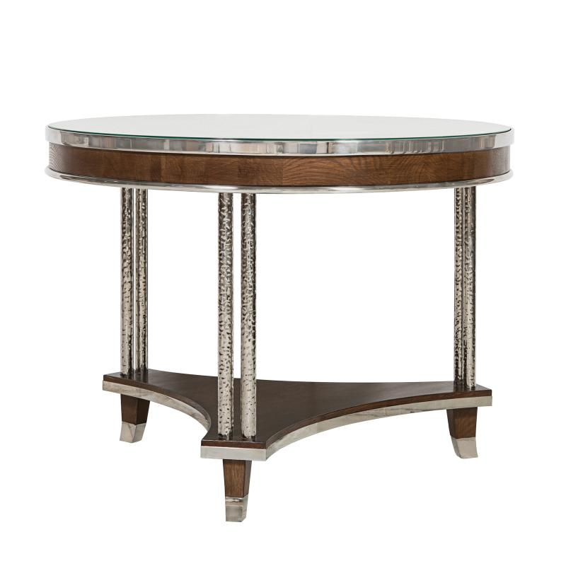 Round side table wood apron hotel furniture