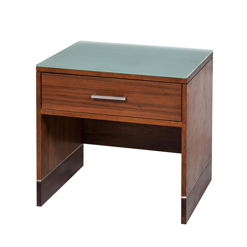 walnut veneer night stand with drawer hotel furniture