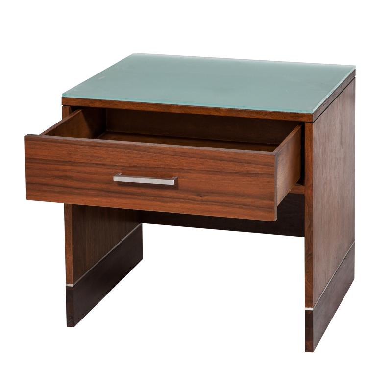 walnut veneer night stand with drawer open hotel furniture