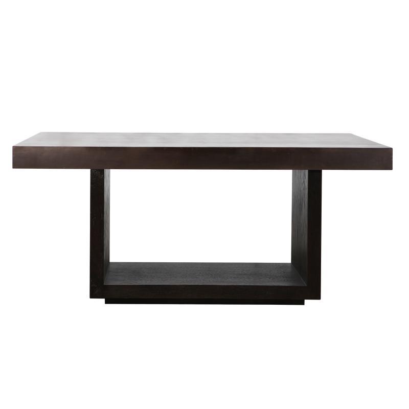 Oak wood and veneer medium dining table front hotel furniture