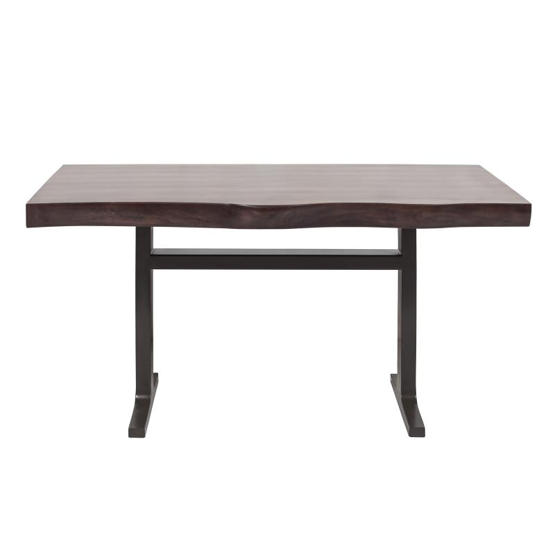 Walnut dining table with iron base front hotel furniture