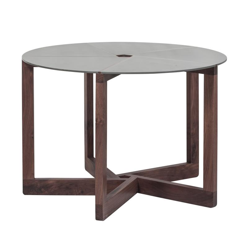 Walnut wood coffee table powder coated steel top hotel furniture