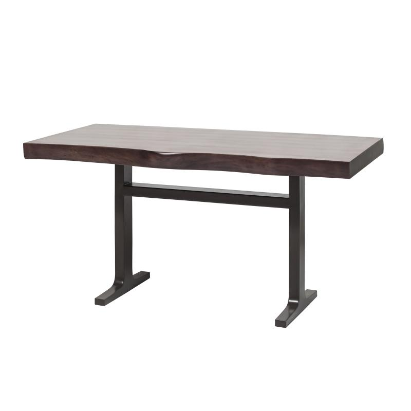 Walnut dining table with iron base hotel furniture