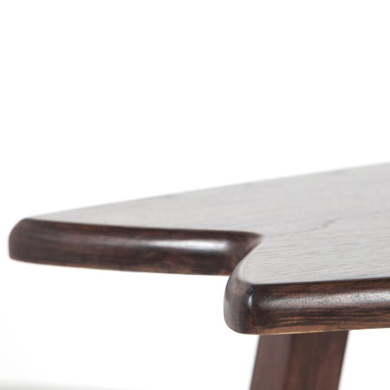 Detail surfboard table walnut wood hotel furniture