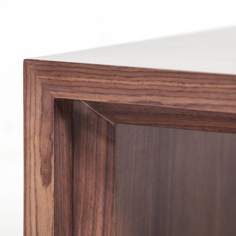 Walnut wood coffee table detail hotel furniture