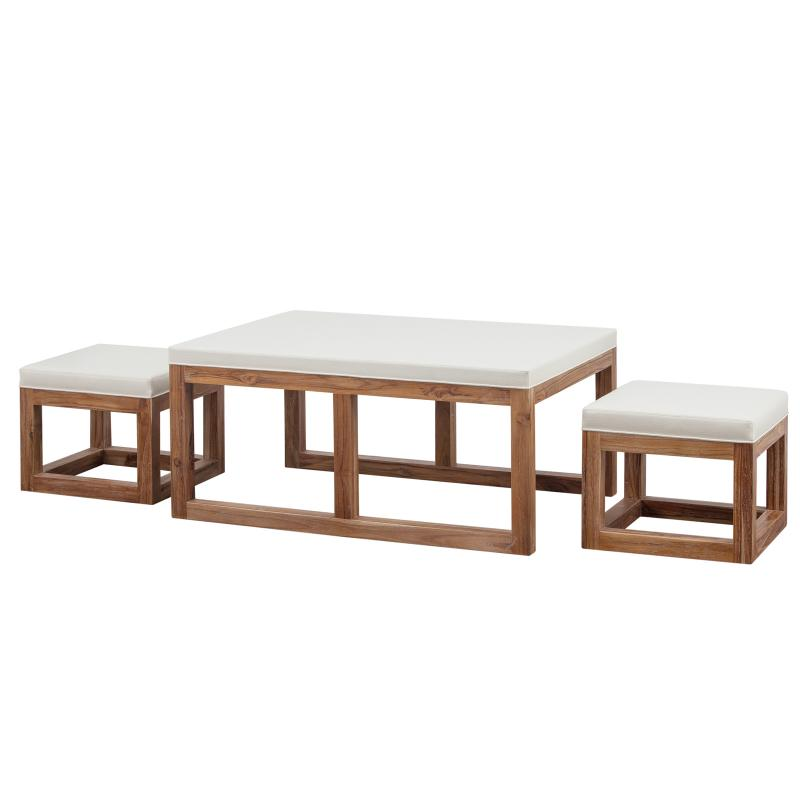 Coffee table ottoman with stools teak frame hotel furniture