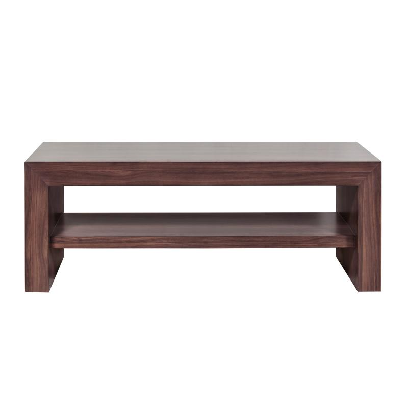 Coffee table walnut wood with shelf front hotel furniture