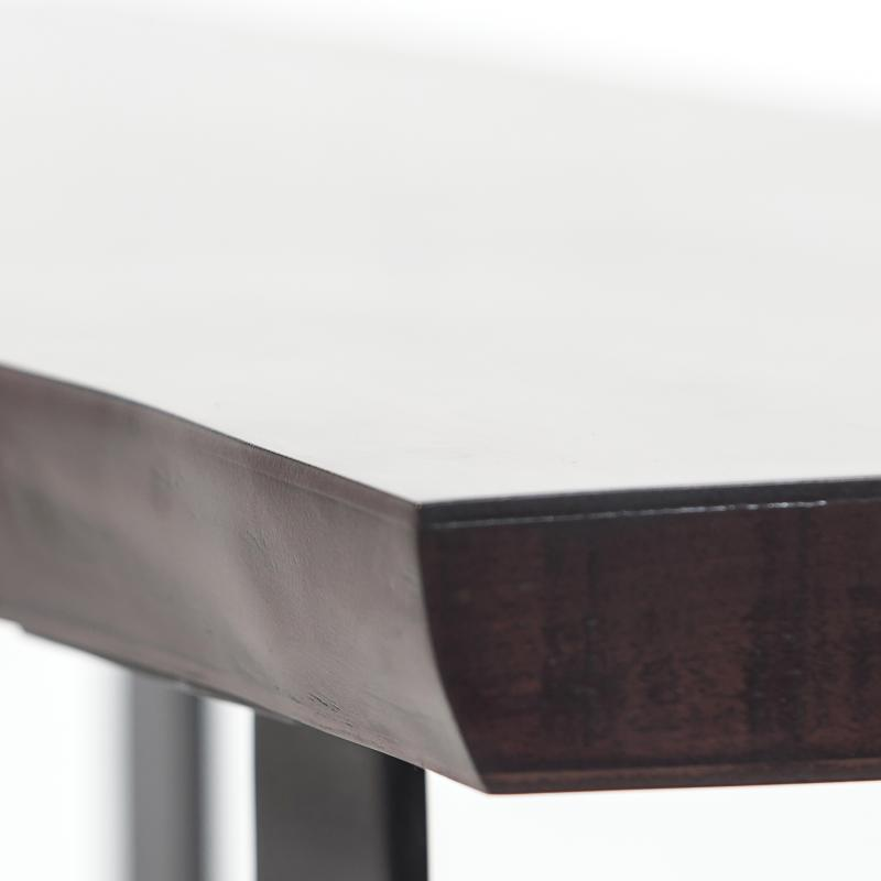Walnut wood coffee table steel base detail hotel furniture