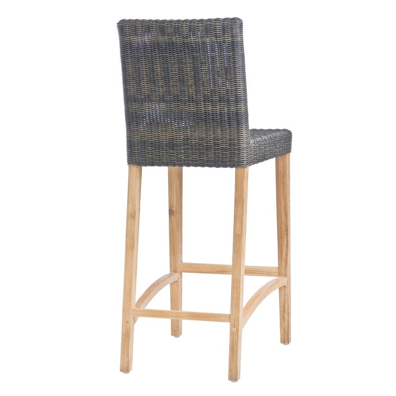 Outdoor barstool teak frame restaurant furniture back