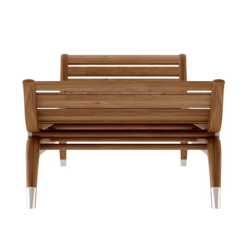 Teak frame art deco lounger hotel furniture