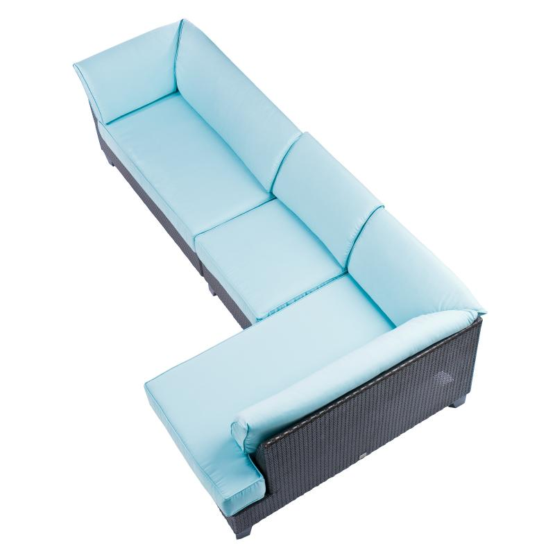 Overhead view modular sofa corner chaise hotel furniture