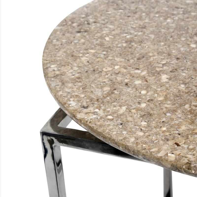 Crushed capiz shell end table detail hotel furniture