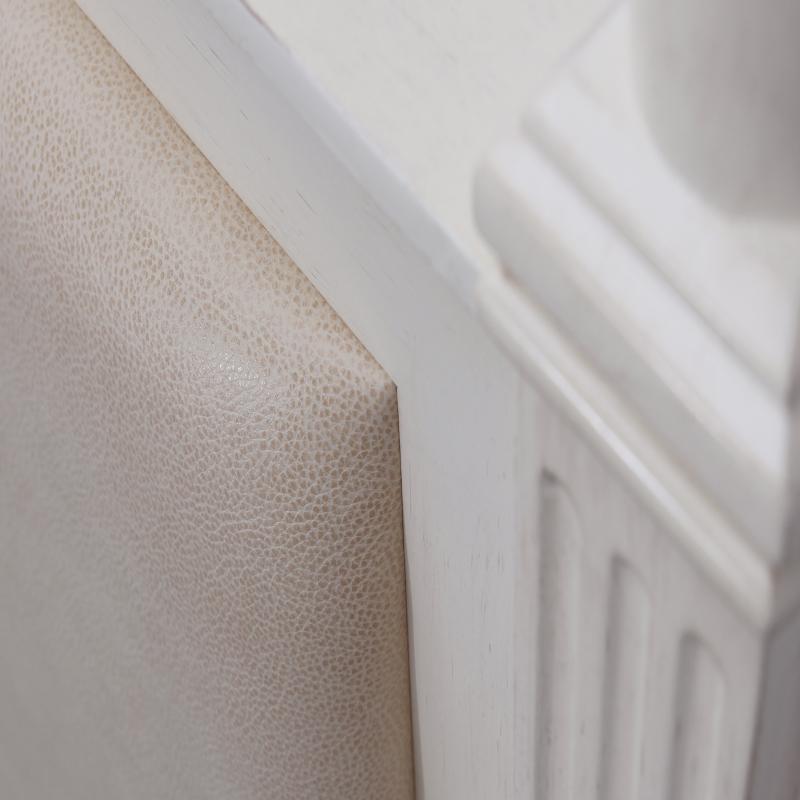oak wood veneer headboard with upholstered panels detail
