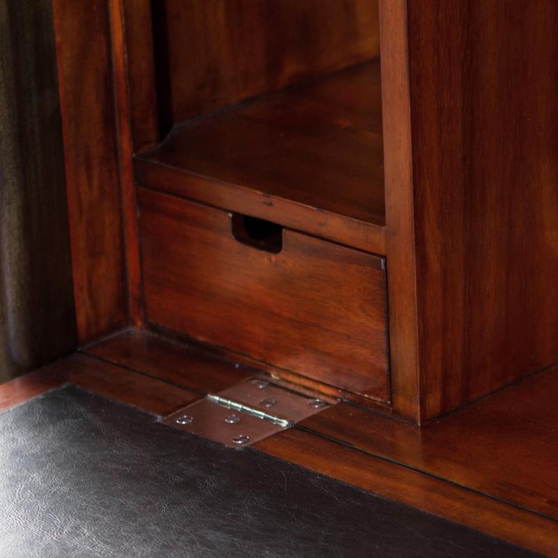 wooden drop down secretary desk closed cubby